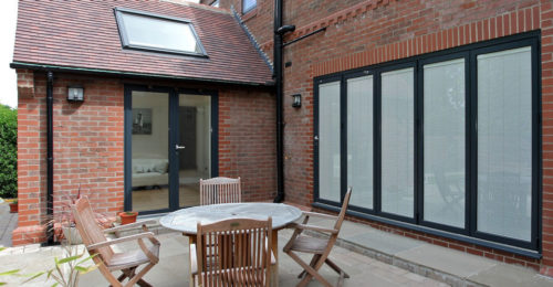 OPT70 sliding folding doors with blinds