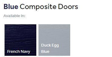 Composite front doors finishes - blues