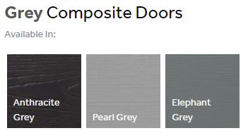 Composite front doors finishes - greys